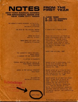 1968-06, Roz's Page, cover highlight,,  Notes from the First Year, NY Radical Women