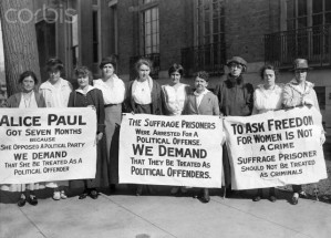 Suffragette Pickets Demanding Hearing for Imprisoned Leader